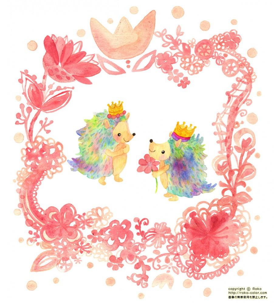 リップとプップ ピンクの花 | 4月のはりねずみのカレンダーのリップと