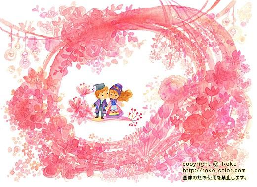 春のももいろ 4月のカレンダーの子どもの桜の花のイラスト