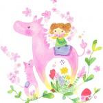 春を祝う親子馬