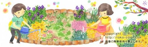 学校の花壇 花に水をあげる