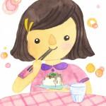 7月 豆腐を食べている女の子
