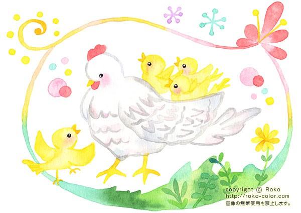 ひよこ02 ニワトリのヒヨコの花の親子のイラスト