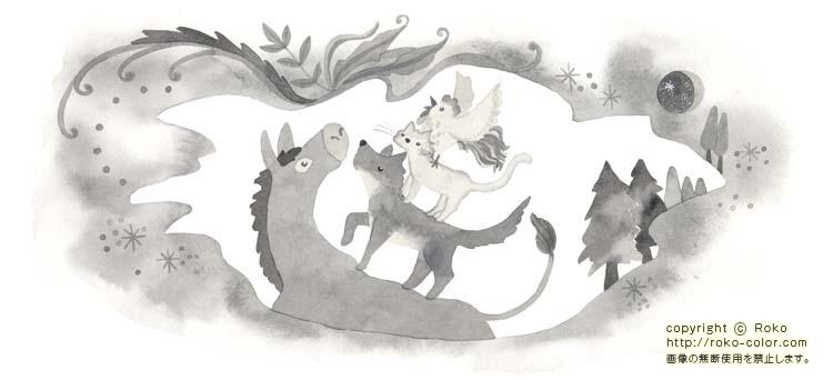 ブレーメンの音楽隊 1色のグリム童話のニワトリのネコのブレーメンの